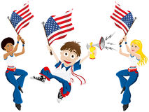 USA Sport Fan with Flag and Horn Stock Photo