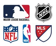 USA sports logos. Vector logo collection of the most popular team sports leagues in the U.S.A. - including NFL and MLB and NBA... Editable eps file available Stock Photography