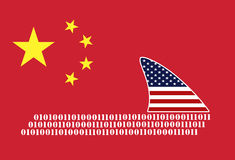 USA spying on China. American espionage on Chinese computer networks Stock Photo