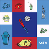 USA Squared Vector Concept with Doodles Stock Photos
