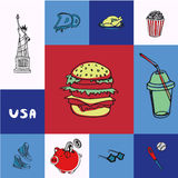 USA Squared Vector Concept with Doodles Stock Photo