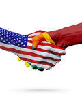 USA and Sri Lanka flags concept cooperation, business, sports competition. USA and Sri Lanka, countries flags, handshake concept cooperation, partnership stock images