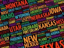 USA-Stadtnamenwort-Wolkencollage Lizenzfreie Stockfotografie