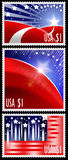 USA stamps with abstract american flag. Three USA stamps with abstract american flag design one dollar cost Royalty Free Illustration