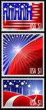 USA stamps with abstract american flag design Stock Image
