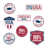 USA stamps and badges. A variety of stamps and badges for USA Stock Photography