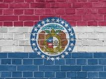 USA stanów pojęcie: Missouri flagi ściana fotografia royalty free
