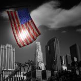 USA Stany Zjednoczone flaga w czarny i biały losu angeles śródmieściu Zdjęcie Stock
