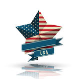 USA star in national flag. Stock Photos
