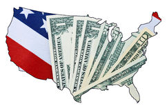 USA Stars and Stripes flag and money within outline of USA map. USA Stars and Stripes flag and money within outline of USA map on white background, for royalty free stock photo