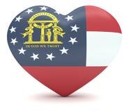 USA-stat Georgia Flag Heart, illustration 3d vektor illustrationer