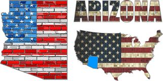 USA state of Arizona on a brick wall Stock Photography