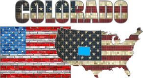 USA state of Colorado on a brick wall vector illustration