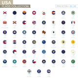 USA State flags collection. Big set of blue pin icon with flags. Of US States. Vector Illustration royalty free illustration