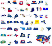 Usa state flags on 3d maps Royalty Free Stock Images