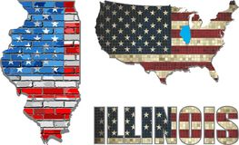 USA state of Illinois on a brick wall Royalty Free Stock Image