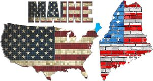 USA state of Maine on a brick wall Royalty Free Stock Photography
