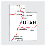 USA map of UTAH Royalty Free Stock Photography