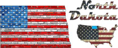 USA state of North Dakota on a brick wall Royalty Free Stock Photography