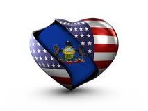 USA State Pennsylvania flag on white background. Royalty Free Stock Images