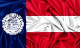 3d waving flag of Georgia. USA state set- 3d waving flag of Georgia, silk fabric texture Stock Photo