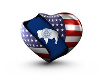 USA State Wyoming flag on white background. Royalty Free Stock Images
