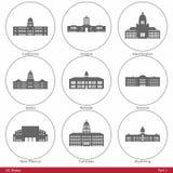 USA-stater - som symboliseras av de statliga Kapitolium Part1 stock illustrationer