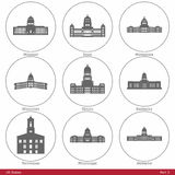 USA-stater - som symboliseras av de statliga Kapitolium Part3 Arkivbilder