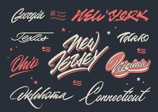 USA states brush lettering stock images