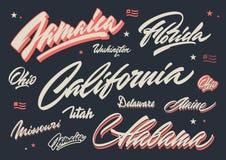 USA states brush lettering Royalty Free Stock Image