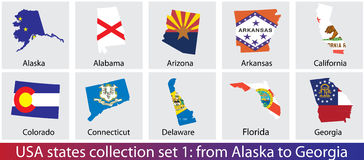 USA states collection Royalty Free Stock Image