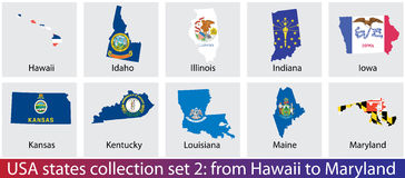 USA states collection Stock Photo