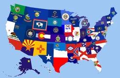 Usa states flag map Stock Image