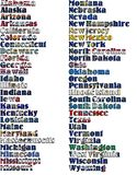 USA states names in colors of its flag - full kit. stock photography