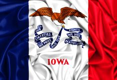 3d waving flag of Iowa. USA states set- 3d waving flag of Iowa, silk texture fabric background Stock Photo