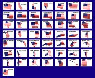 USA States Shaped Flags Stock Photography