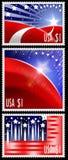 USA-Stempel mit abstrakter amerikanischer Flagge Lizenzfreie Stockbilder