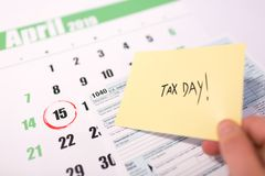 USA-Steuertag am 15. April 2019 stockfotografie