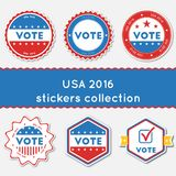 USA 2016 stickers collection. Buttons set for USA presidential elections 2016. Collection of blue and red patriotic badges. Round tokens vector illustration Stock Illustration