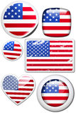 USA - stickers with reflection. Glossy and colorful stickers with reflection set Royalty Free Stock Photos