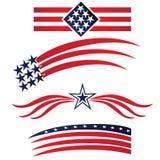 USA stjärnan sjunker logo Ställ in samlingen royaltyfri illustrationer