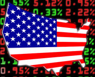 Usa stock market exchange. Illustration of usa map over the stock market prices Stock Images