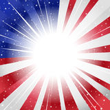 USA styled sunburst. Rays of light and stars forming a sunburst in USA, America, style vector illustration