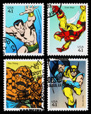 USA Superhero Postage Stamps. Set of Used Postage Stamps printed in the USA showing the Superheroes Sub Mariner, Iron Man, The Thing and Wolverine, circa 2007 Stock Images
