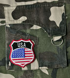 USA Supporter. A USA badge on the jacket of a USA supporter or a USA military garment Stock Image