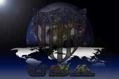 USA-Symbol auf Galaxiehintergrund Stockbild