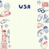 USA-Symbole Pen Drawn Doodles Vector Collection vektor abbildung