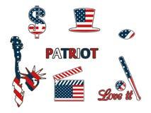 USA-symboler i de patriotiska färgerna av isolering på en vit bakgrund Patriotiska lappemblem stock illustrationer