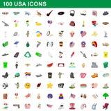 100 USA-symboler uppsättning, tecknad filmstil vektor illustrationer