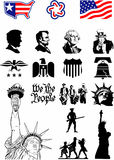 USA Symbols - Icon set. In black and white Stock Image